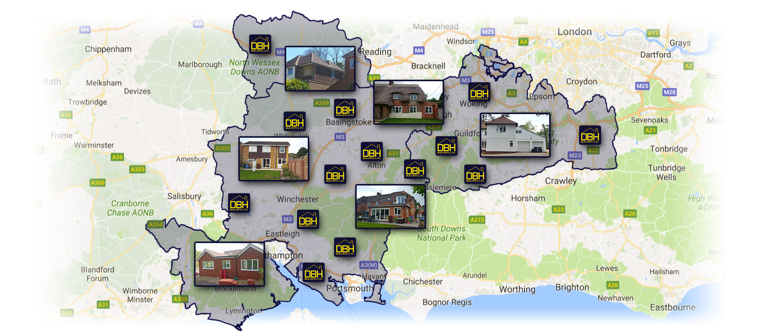 Our Area for house extensions: Hampshire, Surrey and Berkshire